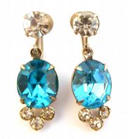 Vintage Blue Rhinestone Drop Screw Back Earrings.